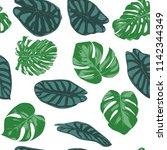 seamless hand drawn botanical... | Shutterstock .eps vector #1142344349