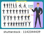 set of young male businessman... | Shutterstock .eps vector #1142344439