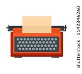 red typewriter icon. flat... | Shutterstock .eps vector #1142346260