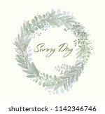 card with beautiful twigs with... | Shutterstock .eps vector #1142346746