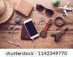 travel accessories costumes....   Shutterstock . vector #1142349770