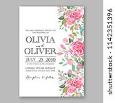 floral wedding invitation... | Shutterstock .eps vector #1142351396