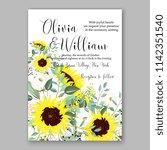 floral sunflower wedding... | Shutterstock .eps vector #1142351540