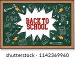 back to school text drawing by... | Shutterstock .eps vector #1142369960