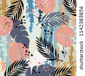 floral pattern. abstract grunge ... | Shutterstock .eps vector #1142383856