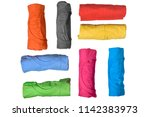Set Of Colorful Rolled Clothes...