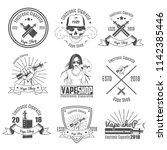 set of vintage emblems.for vape ... | Shutterstock .eps vector #1142385446