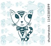 cute cartoon cat. vector... | Shutterstock .eps vector #1142385899