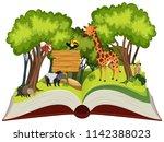 wild animals open book... | Shutterstock .eps vector #1142388023