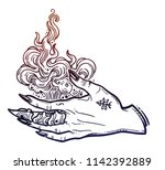 witch gothic hand with fire... | Shutterstock .eps vector #1142392889