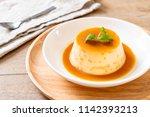 homemade caramel custard...   Shutterstock . vector #1142393213