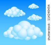 Raster version. Cartoon Bubble Clouds. Illustration on white background for design - stock photo