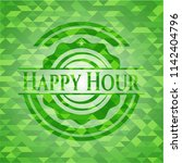 happy hour green emblem with... | Shutterstock .eps vector #1142404796