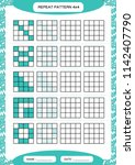 repeat blue pattern. cube grid... | Shutterstock .eps vector #1142407790