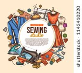 sewing studio poster with... | Shutterstock .eps vector #1142410220