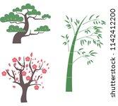 japanese pine tree bamboo... | Shutterstock .eps vector #1142412200