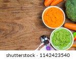 vegetable puree  carrots ... | Shutterstock . vector #1142423540