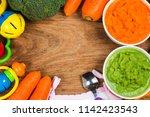 vegetable puree  carrots ... | Shutterstock . vector #1142423543