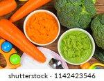 vegetable puree  carrots ... | Shutterstock . vector #1142423546