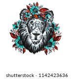 the drawn lion in flowers.... | Shutterstock . vector #1142423636