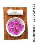spa setting with pink orchid in ...   Shutterstock . vector #1142424506