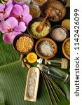 spa setting on palm    Shutterstock . vector #1142426099