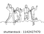 single line drawing of happy... | Shutterstock .eps vector #1142427470