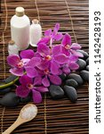 spa setting with pink orchid ...   Shutterstock . vector #1142428193