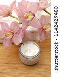 spa setting with orchid on...   Shutterstock . vector #1142429480