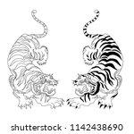 tiger sticker tattoo design ... | Shutterstock .eps vector #1142438690
