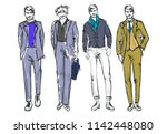 fashion man. set of fashionable ... | Shutterstock .eps vector #1142448080