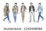fashion man. set of fashionable ... | Shutterstock .eps vector #1142448086