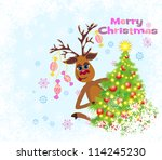 christmas greeting card whit... | Shutterstock . vector #114245230