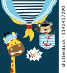 vector of funny animals sailor... | Shutterstock .eps vector #1142457290