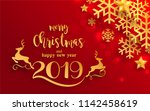 merry christmas greetings and... | Shutterstock .eps vector #1142458619