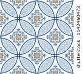 majolica pottery tile  blue and ... | Shutterstock .eps vector #1142460473