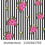 cute pink rose flowers pattern... | Shutterstock .eps vector #1142461703