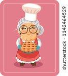 grandma holding homemade pie... | Shutterstock .eps vector #1142464529