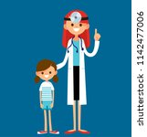 friendly happy female doctor... | Shutterstock .eps vector #1142477006