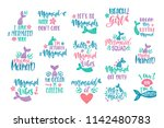 bundle of mermaid's cards.... | Shutterstock .eps vector #1142480783
