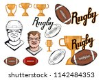 set of football player design... | Shutterstock .eps vector #1142484353