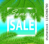 sale banner with palm leaves.... | Shutterstock .eps vector #1142486780