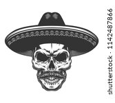 skull in the mexican sombrero... | Shutterstock .eps vector #1142487866