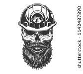 skull in the miner helmet.... | Shutterstock .eps vector #1142487890
