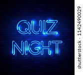 quiz night neon sign on the... | Shutterstock .eps vector #1142490029