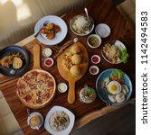 flay lay cafe petrichor | Shutterstock . vector #1142494583
