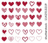 red drawing heart icons set | Shutterstock .eps vector #1142513219