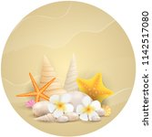 sand round background with... | Shutterstock . vector #1142517080