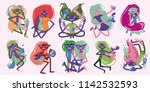 a set with creative people....   Shutterstock .eps vector #1142532593