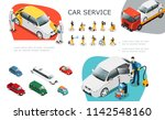 isometric car service elements... | Shutterstock .eps vector #1142548160